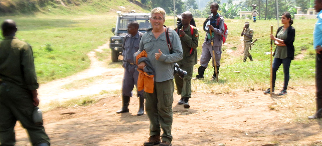 Park rangers brief our clients before they start there search for mountain gorillas.